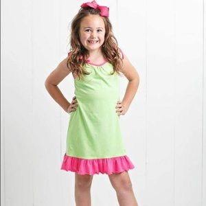 Ruffle Girl Lime & Pink Tie String Dress